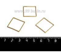Коннектор нержавеющая сталь оксид титана Квадрат 20*20*1 мм цвет золото 1 штука 059014 - 99 бусин
