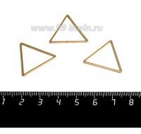 Коннектор нержавеющая сталь оксид титана Треугольник 23*20*1 мм цвет золото 1 штука 059015 - 99 бусин