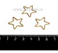 Коннектор нержавеющая сталь оксид титана Звезда 20*20*1 мм цвет золото 1 штука 059016 - 99 бусин
