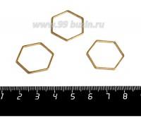 Коннектор нержавеющая сталь оксид титана Соты 23*20*1 мм цвет золото 1 штука 059017 - 99 бусин