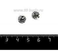 Бусина металлическая Бабочки, полая, 8 мм, цвет старое серебро, 1 штука 059034 - 99 бусин