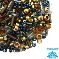 Бисер TOHO Beads Mix, цвет 3220 Raiden- Gold/Green/Blue, в баночке, 10 грамм 059062 - 99 бусин