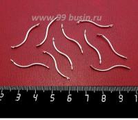 Соединитель Спираль гладкая, 26*1,2 мм, цвет светлое серебро 10 штук/упаковка 059079 - 99 бусин
