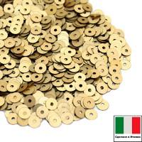 Пайетки 3 мм Италия плоские цвет 236W Oro Giallo Satinato (матовое золото) 3 грамма (ок. 1600 штук) 059154 - 99 бусин