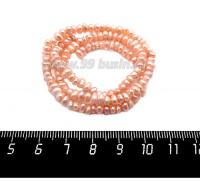 Натуральный жемчуг речной, размер 4*2,5 - 6*3 мм, мелкий, овальной формы, цвет розовато-персиковый, около 35 см/нить 059175 - 99 бусин