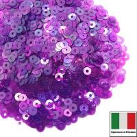 Пайетки 3 мм Италия плоские, цвет 5080 Viola Irise Trasparenti (Фиолетовый прозрачный ирис) 3 грамма (ок.1600 штук) 059179 - 99 бусин
