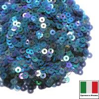 Пайетки 3 мм Италия плоские, цвет 0118 Blu Irise Trasparenti (Синий прозрачный ирис) 3 грамма (ок.1600 штук) 059182 - 99 бусин