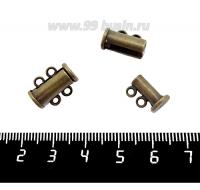 Замок магнитный Столбик 15 мм 2 петли, цвет бронза, 1 штука 059189 - 99 бусин