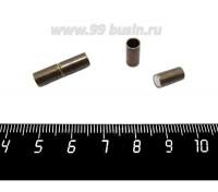 Замок магнитный Столбик для вклейки 20*5 мм внутренний диаметр 4 мм, цвет бронза, 1 штука 059195 - 99 бусин
