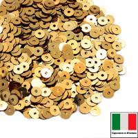Пайетки 3 мм Италия плоские цвет 2011 Oro Metallizzato (Золото металлик) 3 грамма (ок. 1600 штук) 059202 - 99 бусин