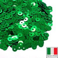 Пайетки 3 мм Италия плоские цвет 7041 Verde Smeraldo Metallizzato (металлик) 3 грамма (ок. 1600 штук) 059212 - 99 бусин