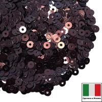 Пайетки 3 мм Италия плоские цвет 4161 Vinaccia Metallizzati (Чёрный шоколад металлик) 3 грамма (ок.1600 штук) 059213 - 99 бусин