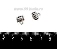 Бейл Астра 9*10*7 мм, внутреннее отверстие 4 мм, цвет старое серебро, 1 штука 059215 - 99 бусин