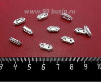 Рондель-разделитель Малый 11*5*3 мм, 2 отверстия,  светлое серебро бесцветные стразы, 10 штук/упаковка 059221 - 99 бусин