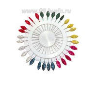 Булавки швейные (иглы декоративные) Листик, 6 цветов - желтый, фуксия, изумрудный, жемчужный, красный, зеленый, 30 штук/круг 059226 - 99 бусин
