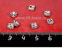 Рондель квадратный 5*5*2,5 мм, цвет никель, бесцветные стразы, 10 штук/упаковка 059280 - 99 бусин