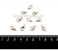 Замок карабин 12*6 мм Литой, цвет светло-розовое золото, без колечек 10 штук/упаковка 059291 - 99 бусин