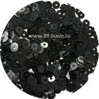 ОПТ Мини пайетки Индия плоские 2,5 мм Black Color № 4209 30 грамм/упаковка 059314 - 99 бусин