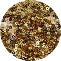 ОПТ Мини пайетки плоские 2,5 мм Dark Gold Color № 828 Индия 30 грамм 059365 - 99 бусин