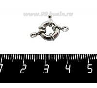 Замок-кольцо 11 мм на 1 нить, цвет никель 1 штука 059392 - 99 бусин