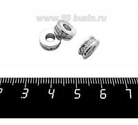 Бусина Премиум Рондель 10*4 мм, внутреннее отверстие 4 мм, с бесцветными микроцирконами, родирование, 1 штука 059515 - 99 бусин