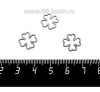 Коннектор нержавеющая сталь Клевер 11*11*1 мм цвет стальной 1 штука 059520 - 99 бусин
