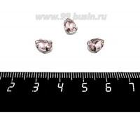 Стразы стеклянные пришивные в цапах Капелька 8*6 мм розовый, 1 штука 059533 - 99 бусин