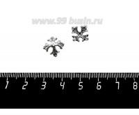 Шапочка для бусин ювелирная Королевская 10*6 мм, для бусины диаметром 8 мм, оксидированное посеребрение 12 мкн, 1 штука 059561 - 99 бусин