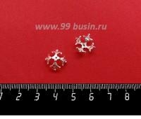 Шапочка для бусин ювелирная Королевская с Фианитами 10*6 мм, для бусины диаметром 8 мм, посеребрение 12 мкн, 1 штука 059563 - 99 бусин