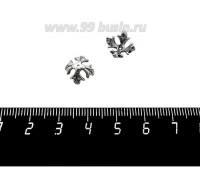 Шапочка для бусин ювелирная Королевская с Фианитами 10*6 мм, для бусины диаметром 8 мм, оксидированное посеребрение 12 мкн, 1 штука 059564 - 99 бусин