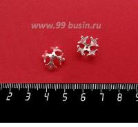 Шапочка для бусин ювелирная Королевская 12*7 мм, для бусины диаметром 10 мм, посеребрение 12 мкн, 1 штука 059566 - 99 бусин