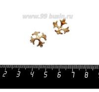 Шапочка для бусин ювелирная Королевская с Фианитами 12*7 мм, для бусины диаметром 10 мм, позолота 0,45 мк, 1 штука 059571 - 99 бусин