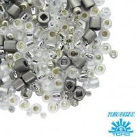 Бисер TOHO Beads Mix, цвет 3201 Junpaku - Crystal/Silver, 10 грамм/упаковка 059588 - 99 бусин