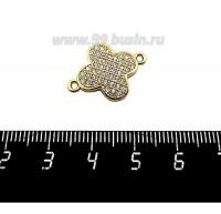 Коннектор Премиум Клевер выпуклый 22*16 мм 2 петли, с микроцирконами, желтая позолота 1 штука 059610 - 99 бусин