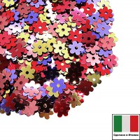 Пайетки 5 мм Италия Цветочки Микс Осенний вальс металлик (цвета 2011,4061,3271,5161,5511) 3 грамма 059626 - 99 бусин