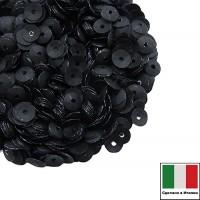 Пайетки 4 мм Италия чаша цвет 996W Nero Satinato (Чёрный сатин) 3 грамма 059630 - 99 бусин