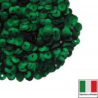 Пайетки 4 мм Италия чаша цвет 746W Smeraldo Satinato (Зелёный изумруд сатин) 3 грамма 059633 - 99 бусин