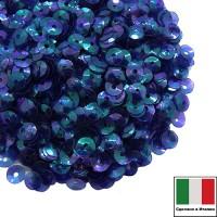 Пайетки 4 мм Италия чаша, цвет 0118 Blu Irise Trasparenti (Синий прозрачный ирис) 3 грамма 059641 - 99 бусин