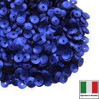 Пайетки 4 мм Италия чаша цвет 616W Bluette Satinato (Королевский синий сатин) 3 грамма 059645 - 99 бусин