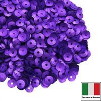 Пайетки 4 мм Италия чаша цвет 556W Viola Satinato (Фиолетовый сатин) 3 грамма 059646 - 99 бусин