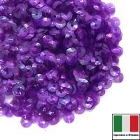 Пайетки 4 мм Италия чаша, цвет 5080 Viola Irise Trasparenti (Фиолетовый прозрачный ирис) 3 грамма 059647 - 99 бусин