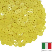 Пайетки 4 мм Италия плоские цвет 2134 Giallo Limone Opaline (Лимонно-желтый опал) 3 грамма 059665 - 99 бусин