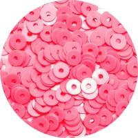 Мини пайетки плоские 4 мм Neon Finish Pink Color Sequins № 375 Индия 5 грамм (около 1300 штук) 059686 - 99 бусин
