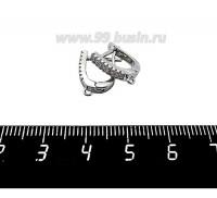 Швензы Премиум Прямоугольные 16 микроцирконов, 15*12*3 мм, родированные 1 пара 059743 - 99 бусин