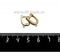 Швензы Премиум Прямоугольные 16 микроцирконов, 15*12*3 мм, позолота, 1 пара 059745 - 99 бусин