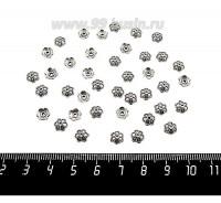 Шапочка для бусин Цветик Мини 6*2 мм, цвет старое серебро 40 штук/упаковка 059753 - 99 бусин