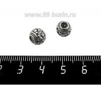 Бусина металлическая Бабочки Большое отверстие, полая, диаметр 8 мм, внутреннее отверсие 3,5 мм, цвет старое серебро, 1 штука 059761 - 99 бусин