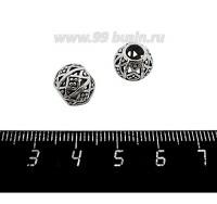 Бусина металлическая Мозаика полая, диаметр 10 мм, внутреннее отверсие 4 мм, цвет старое серебро, 1 штука 059762 - 99 бусин