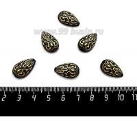 """Бусина акрил Капля """"Дамаск"""" 18*11*7 мм цвет черный/золотистый, 6 штук/упаковка 059765 - 99 бусин"""