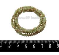Бусины хрустальные на нити форма Рондель 3*2 мм, цвет оливковый/песочный/перламутр 39 см нить/около 140 бусин 059784 - 99 бусин